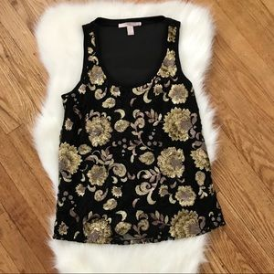 FOREVER 21 Gold Black Sequin Flower Tank Top